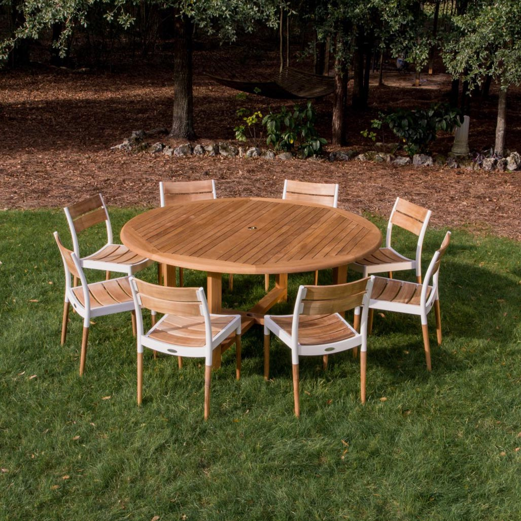Round teak patio dining set westminster teak outdoor for Teak outdoor furniture