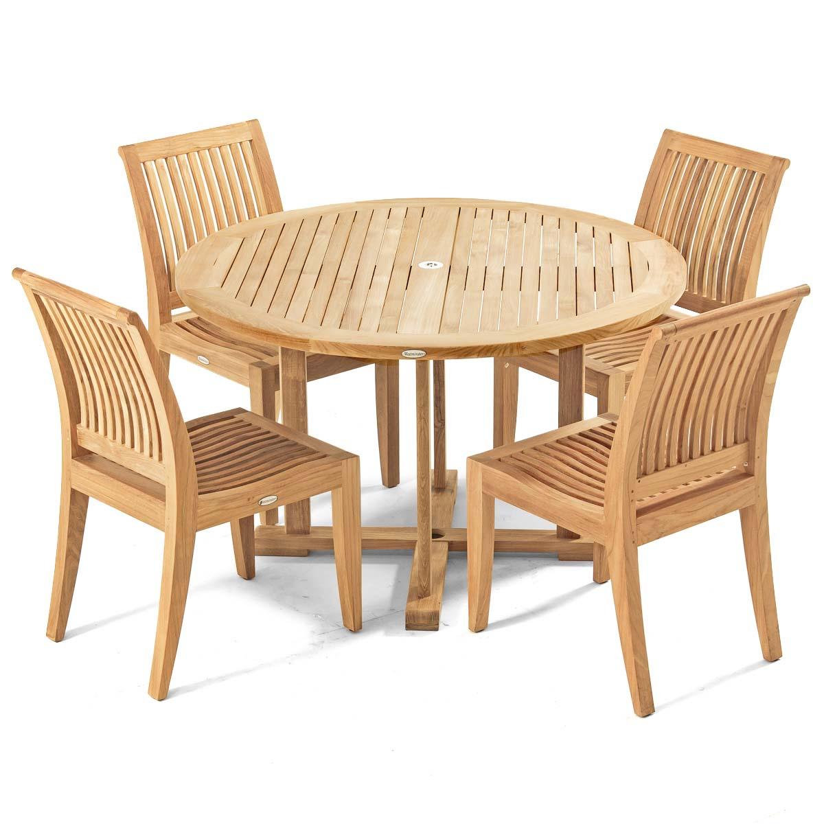 Laguna 4ft round teak sidechair set westminster teak outdoor furniture - Round teak table and chairs ...