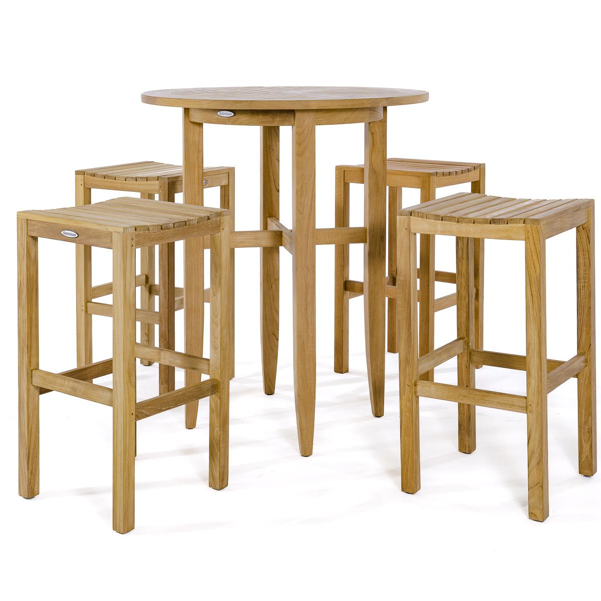 The 5 piece Somerset Laguna Bar Set ...  sc 1 st  Westminster Teak & Teak Backless Bar Stool and Table Set - Westminster Teak Outdoor ...