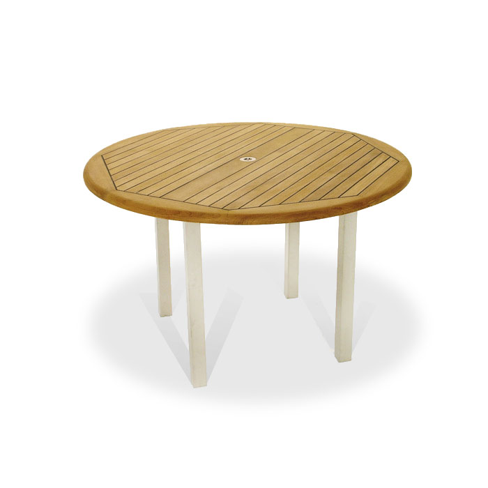 Vogue 4ft diameter teak and stainless steel round westminster teak outdoor furniture - Round teak table and chairs ...
